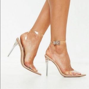 Missguided Nude Clear Ankle Strap Court Shoes